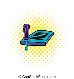 Screwdriver and hdd icon, comics style - Screwdriver and hdd...