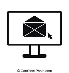 Computer with e-mail icon, simple style