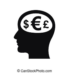 Thoughts about money icon, simple style