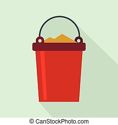 Bucket full of garbage icon, flat style
