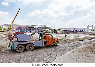 Old heavy truck mobile crane - Rusty old mobile crane is...
