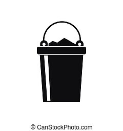 Bucket full of garbage icon, simple style
