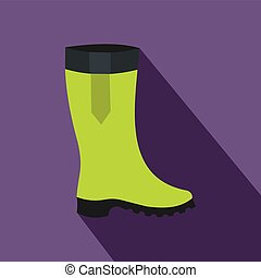 Green rubber boots icon, flat style