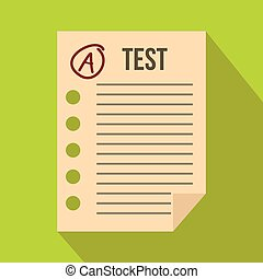 Test paper icon, flat style - Test paper icon in flat style...