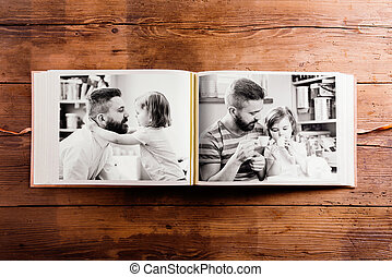 Fathers day composition. Photo album, black-and-white...