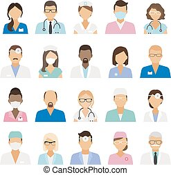 Medical staff icons Doctors and nurses medical staffs...