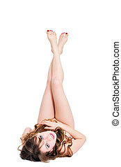 beauty nudity - beautiful nude girl laying over the white in...