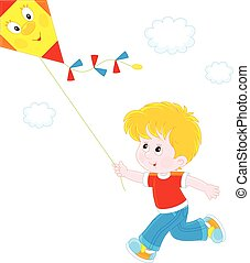 Little boy playing with a kite - Vector illustration of a...