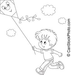 Little boy playing with a kite - Black and white vector...
