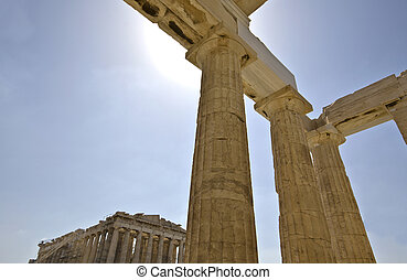Propylaea and Parthenon at the Acropolis of Athens in Greece