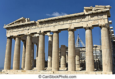 Parthenon temple at the Acropolis of Athens in Greece temple...