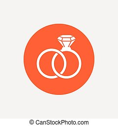 Wedding rings sign icon Engagement symbol Orange circle...