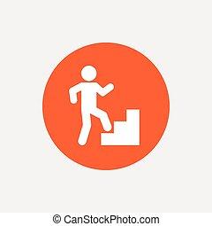 Upstairs icon Human walking on ladder sign Orange circle...
