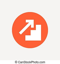 Upstairs icon. Up arrow sign. Orange circle button with...