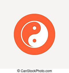 Ying yang sign icon Harmony and balance symbol Orange circle...
