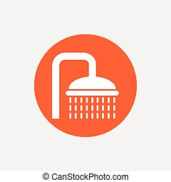 Shower sign icon Douche with water drops symbol Orange...