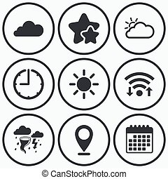 Weather icons Cloud and sun Storm symbol - Clock, wifi and...