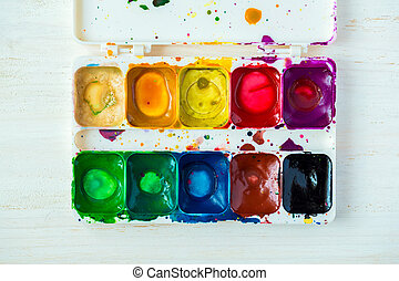 Old watercolor paint box top down view - Old used watercolor...
