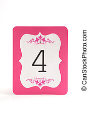 Numbered blank place card for wedding table