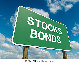 bonds stocks - A road sign with bonds stocks words on sky...
