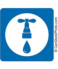 tap and drop icon - blue plumbing icon tap and water drop