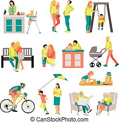 Vector set of people in situations at home and park...