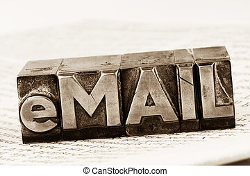 "written email in lead letters - the word ""e-mail""..."