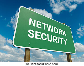 network security - A road sign with network security words...