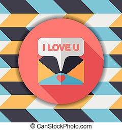 Valentines day love letter flat icon with long shadow,eps10