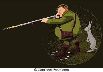 People in retro style. The hunter in an ambush. - People in...