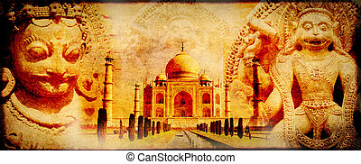 Grunge background with paper texture and landmarks of India...