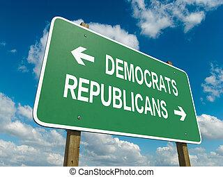 democrats republicans - A road sign with democrats...
