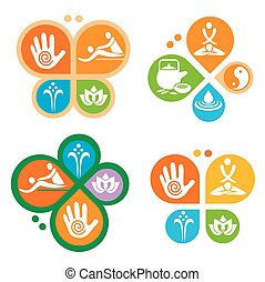 Spa massage icons - Colorful massage and spa icons placed in...
