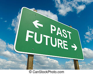 past future - A road sign with past future words on sky...