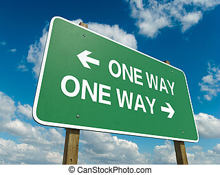 one way - A road sign with one way words on sky background