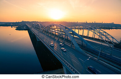 Darnitskiy bridge at sunset - Darnitskiy bridge across Dnepr...