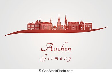 Aachen skyline in red and gray background in editable vector...