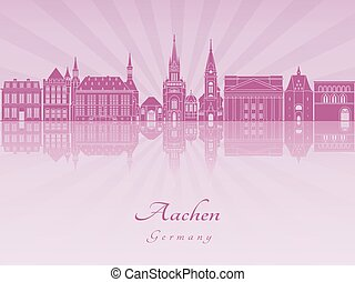Aachen skyline in purple radiant orchid in editable vector...