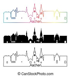 Aachen skyline linear style with rainbow in editable vector...
