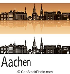 Aachen skyline in orange background in editable vector file