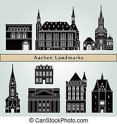 Aachen landmarks and monuments isolated on blue background...