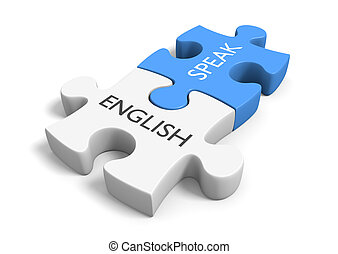 Speak and English puzzle pieces - Two connected puzzle...