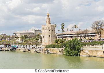 Torre del Oro, Sevilla, Guadalquivir river, Tower of gold, Seville, Spain