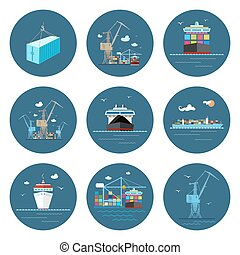 Set of Cargo Icons, Freight Transportation