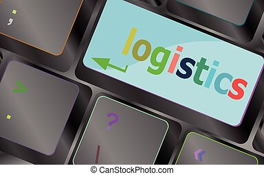 logistics words on laptop keyboard, business concept vector keyboard key. keyboard button. Vector illustration