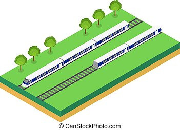 Fast Train. Vector isometric illustration of a Fast Train....