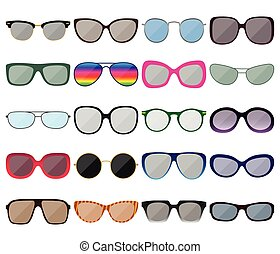 Sunglasses icon set. Colored spectacle frames. Different...