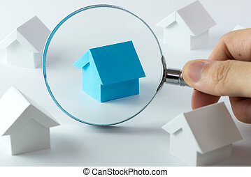 Choosing right house - House searching concept with a...