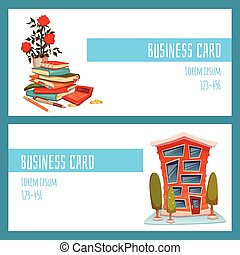 Business card concept with office building and accountant things. Vector illustration