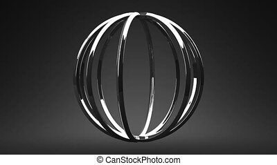 Silver Circle Abstract On Black Background. Loop able 3DCG...
